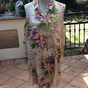 Sleeveless silk tropical print dress